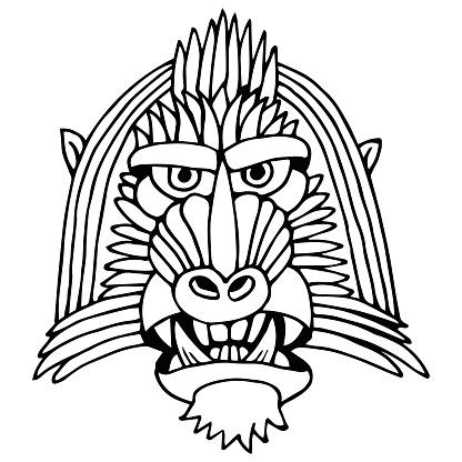Portrait Monkey. Doodle Cartoon Face of Primate on White Background. Hand Drawn Black and White illustration.