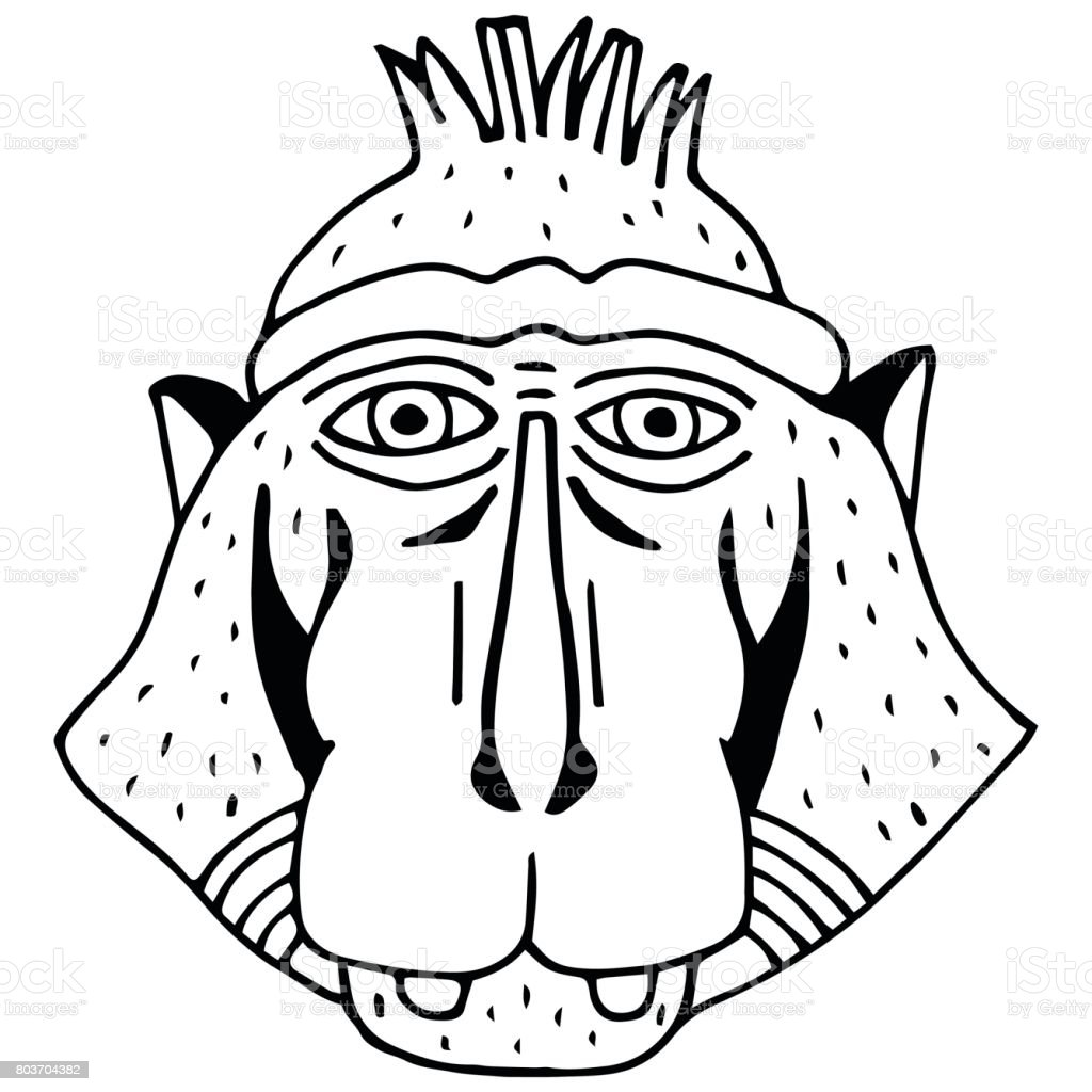 Portrait Monkey Doodle Cartoon Face Of Primate On White Background Hand Drawn Black And White Illustration Stock Illustration Download Image Now Istock