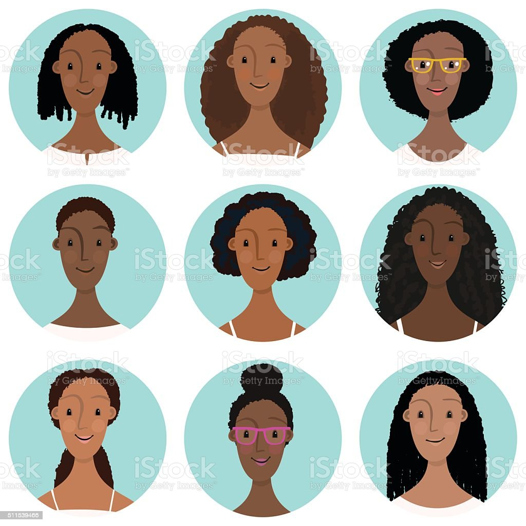 Portrait of  9 young black or multiracial women vector art illustration