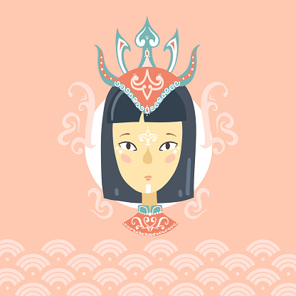 Portrait of a Asian girl in a crown with a pattern on her face.