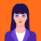 Portrait of a  beautiful Asian businesswoman in eyeglasses, vector flat illustration. Asian young successful woman avatar.