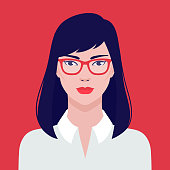 Portrait of a  beautiful Asian student girl in eyeglasses, vector flat illustration. Asian young successful woman avatar.