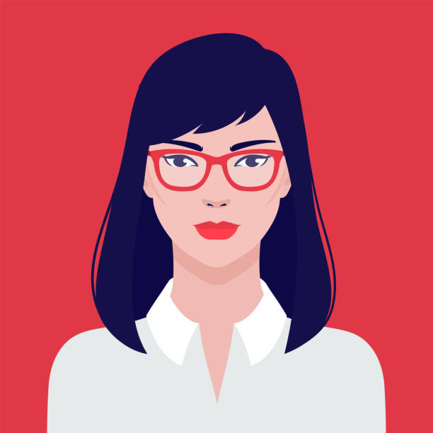 ilustraciones, imágenes clip art, dibujos animados e iconos de stock de retrato de una hermosa estudiante asiática chica en gafas, ilustración plana vectorial. asiático joven éxito mujer avatar. - cabello castaño