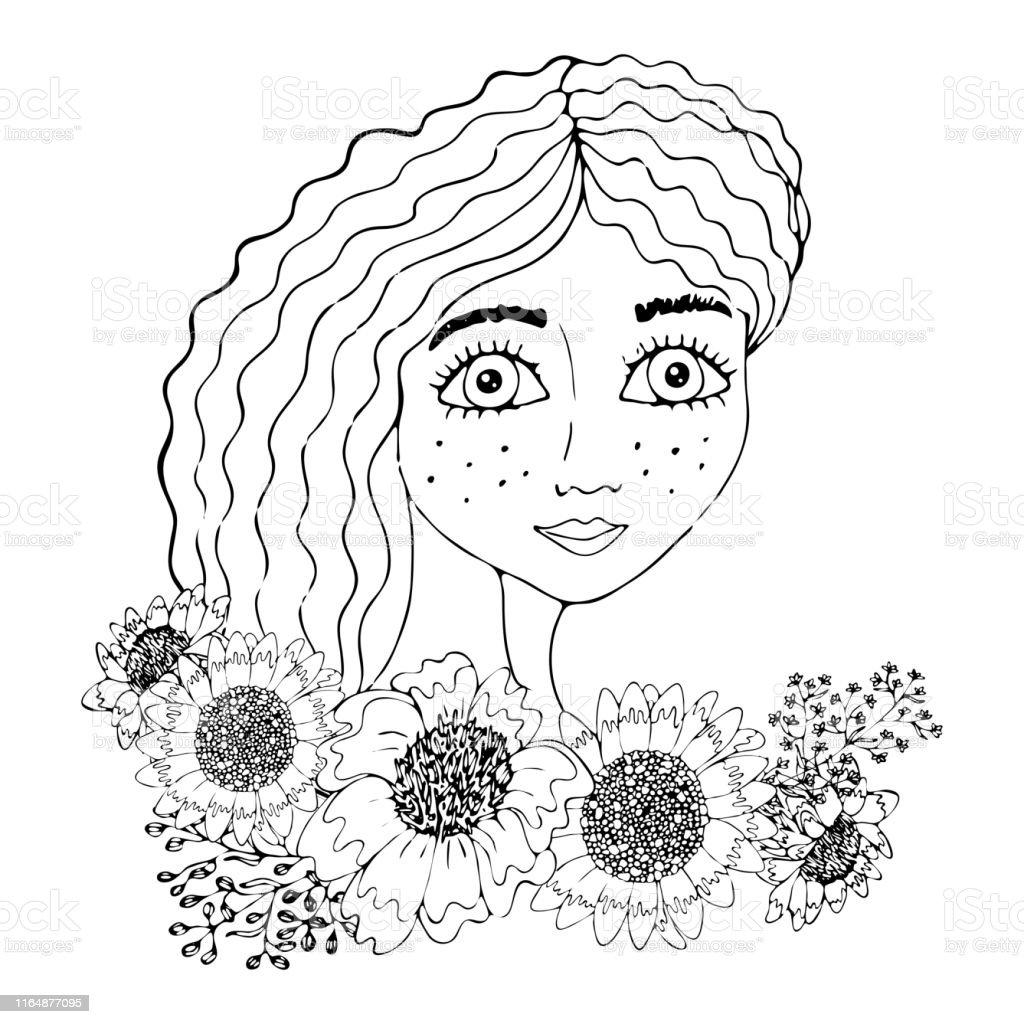 Vetores De Retrato De Uma Menina Bonita Com A Flor Para Colorir