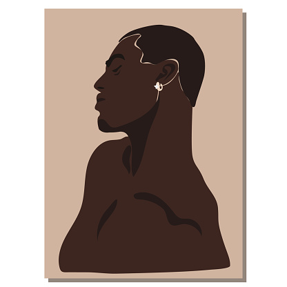 Portrait of a beautiful guy. Avatar of a young man. Vector flat illustration