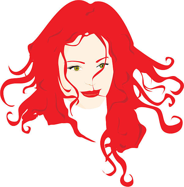 portrait of a beautiful woman - redhead stock illustrations, clip art, cartoons, & icons