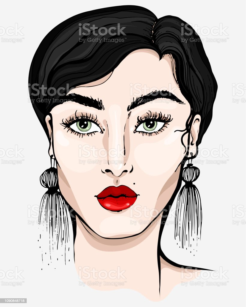 Portrait of a beautiful young brunette woman fashion illustration concept sketch graphics linear realistic style attractive girl model in full face with