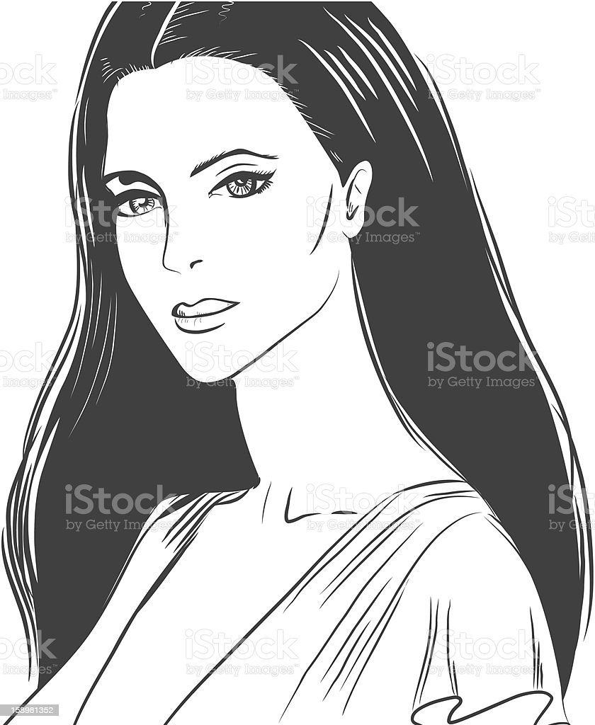 Portrait of a beautiful young woman royalty-free stock vector art