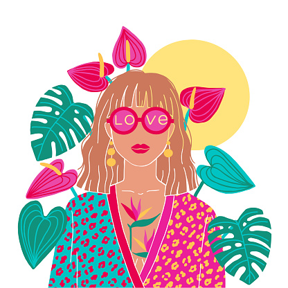 Portrait of a blond woman in the urban jungle. Fashion print. Vector illustration