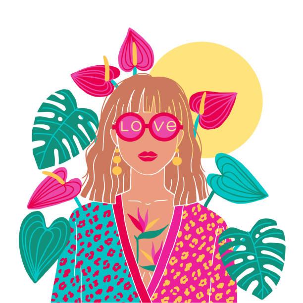 illustrazioni stock, clip art, cartoni animati e icone di tendenza di portrait of a blond woman in the urban jungle. fashion print. vector illustration - woman portrait forest