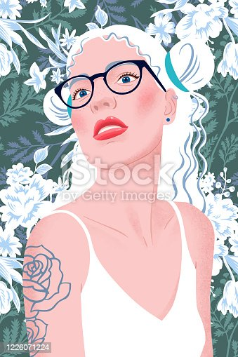 Portrait of a blonde girl with hairstyle, eyeglasses and tank top. Young beautiful woman with makeup, red lips, long hair on floral background. Tattoo on shoulder. Modern flat vector illustration.