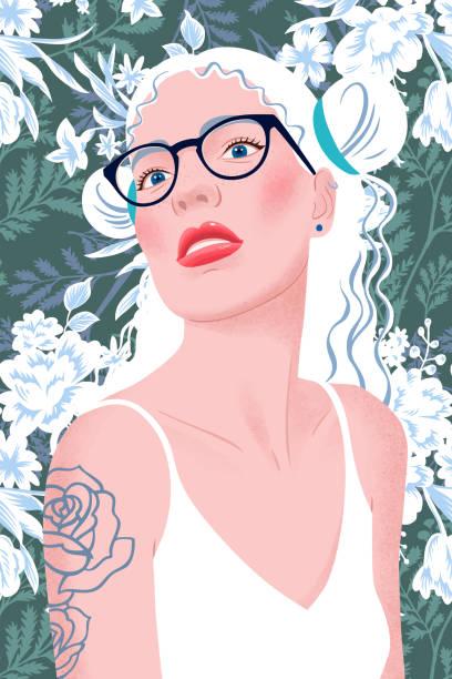 bildbanksillustrationer, clip art samt tecknat material och ikoner med porträtt av en blond tjej med frisyr, glasögon och linne. ung vacker kvinna med smink, röda läppar, långt hår på blommig bakgrund. tatuering på axeln. modern platt vektor illustration. - endast vuxna