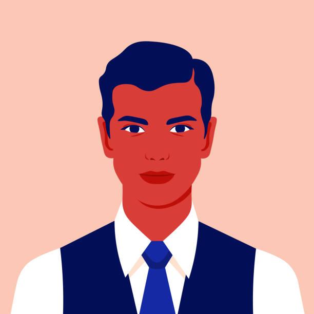 stockillustraties, clipart, cartoons en iconen met portret van een zakenman. avatar van een jonge man voor sociaal netwerk. - jonge mannen