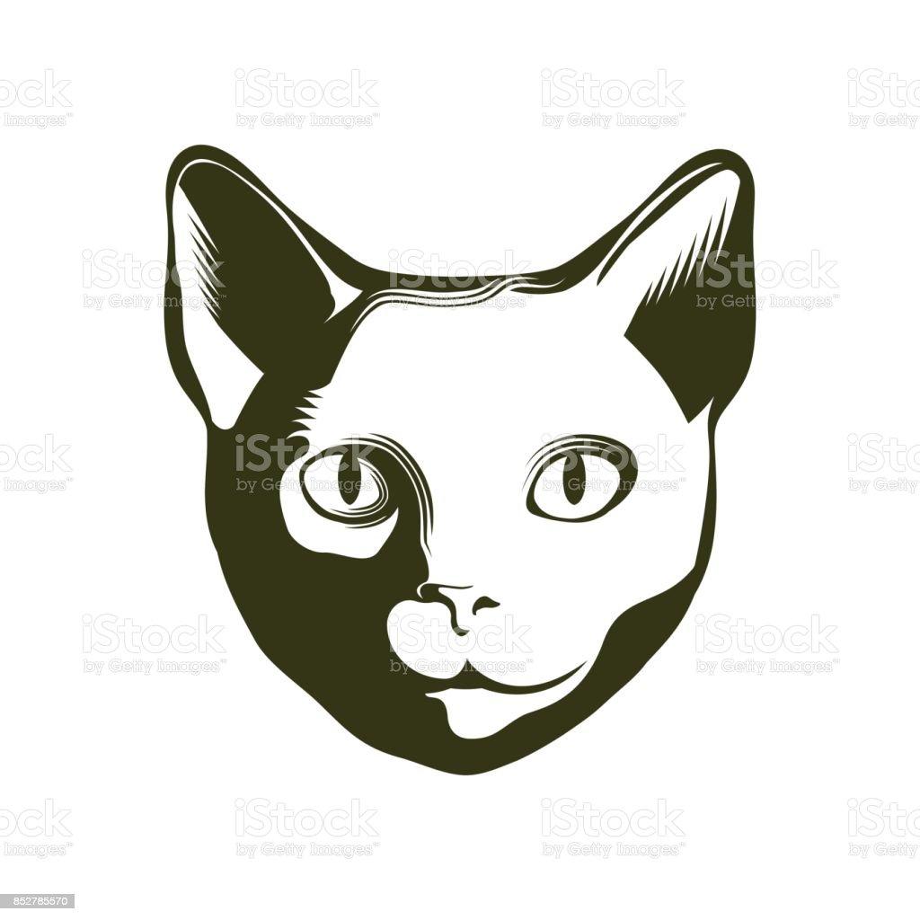 Retrato de un gato. Ilustración de vector. - ilustración de arte vectorial