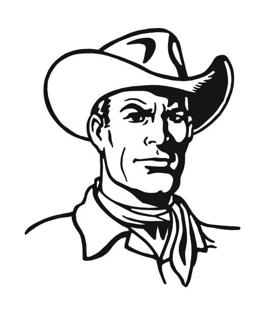 Portrait of a Cowboy Portrait of a Cowboy rancher illustrations stock illustrations
