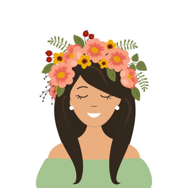 porträt von einem netten mädchen in einem dekorativen floralen kranz auf dem kopf - pflanzenhaar stock-grafiken, -clipart, -cartoons und -symbole