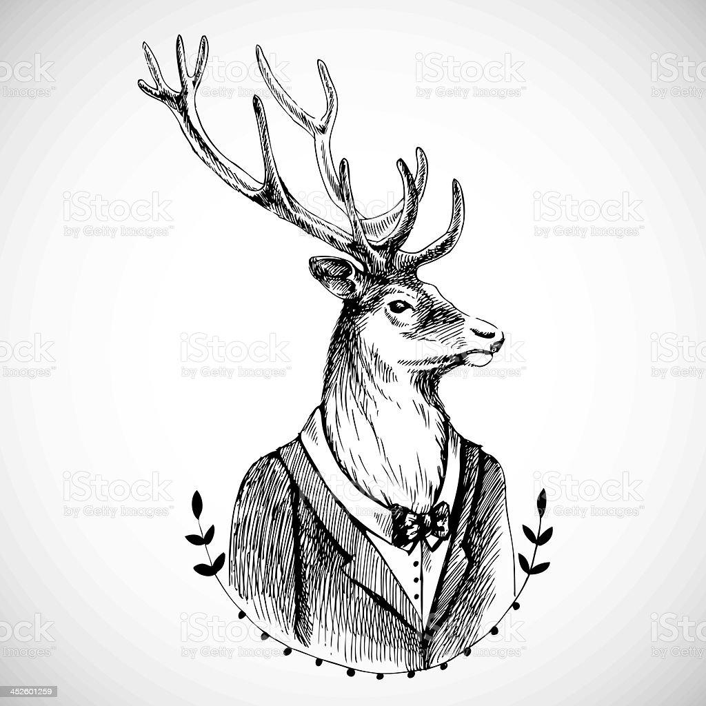 Portrait of a deer in tuxedo vector art illustration