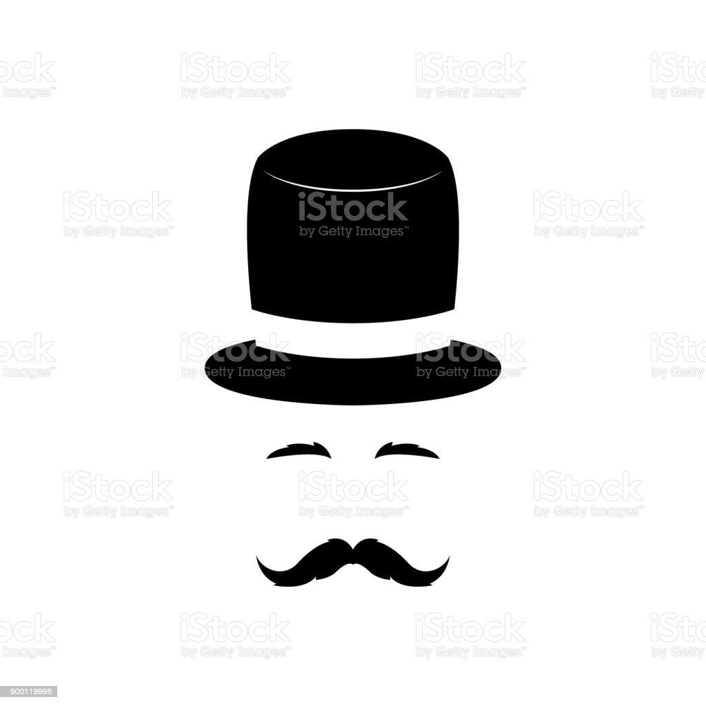 Porträt eines Herrn in einen Vintage Hut und einen Schnurrbart. Vektor-Illustration. – Vektorgrafik