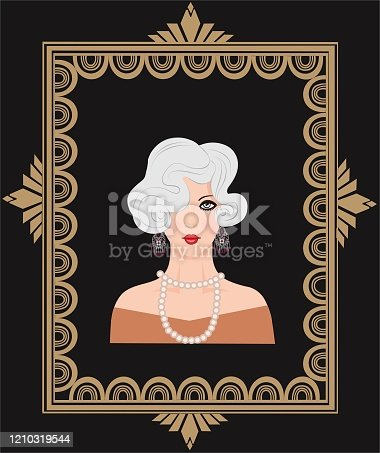 Portrait of a girl dressed in the style of the 20s in a frame with art deco style, vector illustration