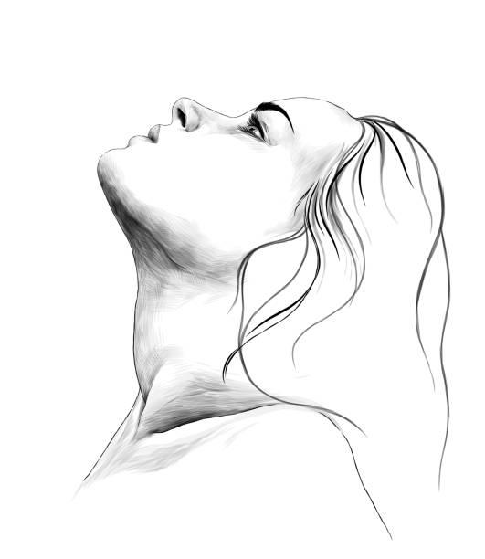 portrait of a girl in profile with her hair down and head up – artystyczna grafika wektorowa