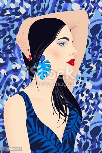 Portrait of a girl with black long hair and large earrings. Pretty woman with bright makeup on tropical zebra leopard background. Flat vector illustration. Fashion model pose, beauty look.