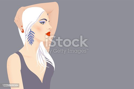 Portrait of a girl with blond long hair and large earrings. Pretty woman with bright makeup on gray background with copy space. Flat vector illustration. Fashion model pose, beauty look.
