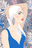 Portrait of a girl with blond long hair and large earrings. Pretty woman with bright makeup on a summer tropical background. Flat vector illustration. Fashion model pose, beauty look.