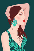 Portrait of a girl with long hair and large earrings. Pretty woman with bright makeup on a green background. Flat vector illustration. Fashion model pose, beauty look.
