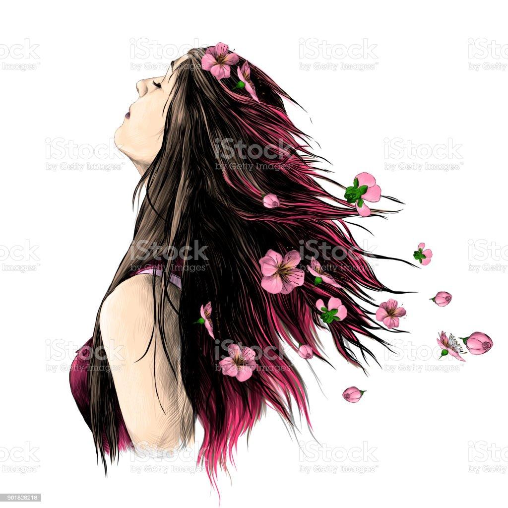 Portrait d'une jeune fille avec les cheveux dénoués - Illustration vectorielle