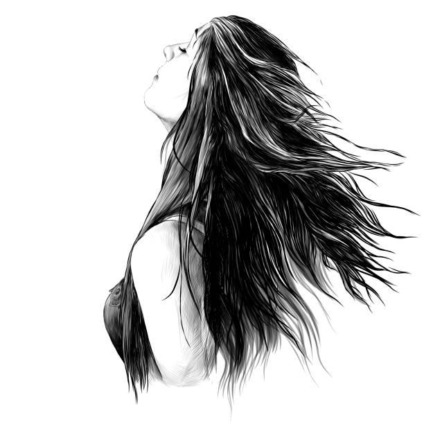 portrait of a girl with loose hair – artystyczna grafika wektorowa