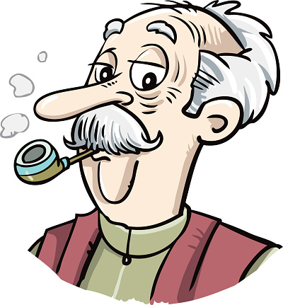 Portrait of a grandfather with a pipe