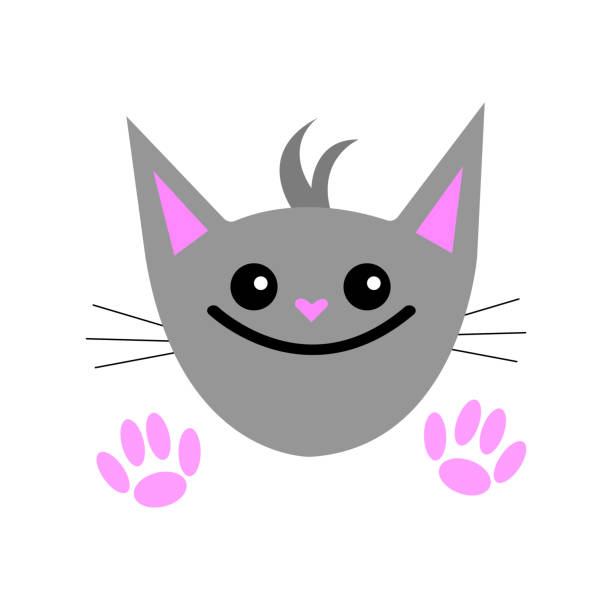 portrait of a gray cat with a heart-shaped nose, round shining eyes and a wide smile vector art illustration