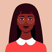 Portrait of a happy African girl. The face of a smiling child. Avatar of a schoolgirl. Vector flat illustration