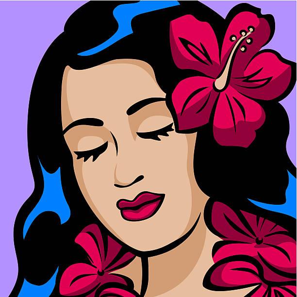 Portrait of a Hawaiian Hula Girl vector art illustration