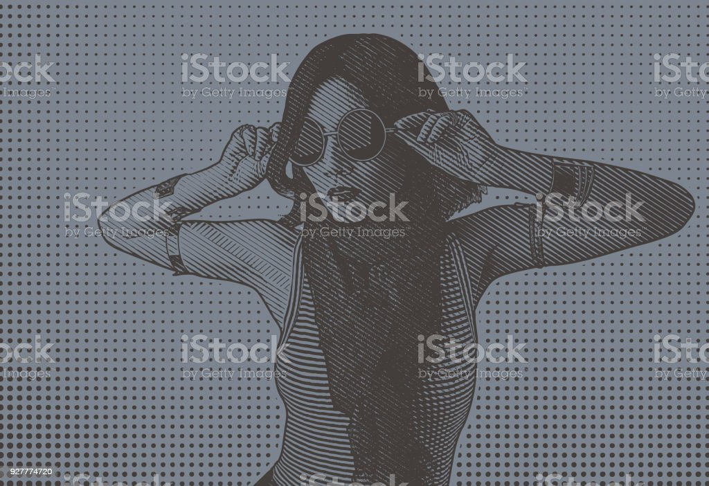 Portrait of a hip young Asian woman vector art illustration