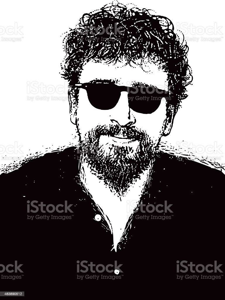Portrait Of a Hipster Man with Beard, Mustache and Sunglasses vector art illustration