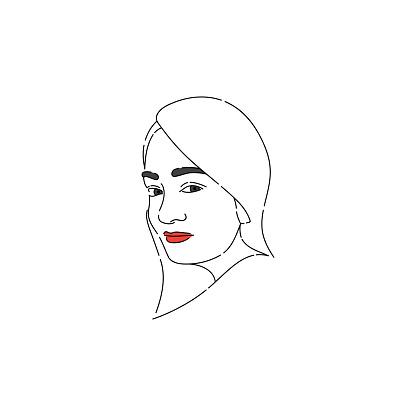 Portrait of a long-haired Indian woman. Line Art Portrait.
