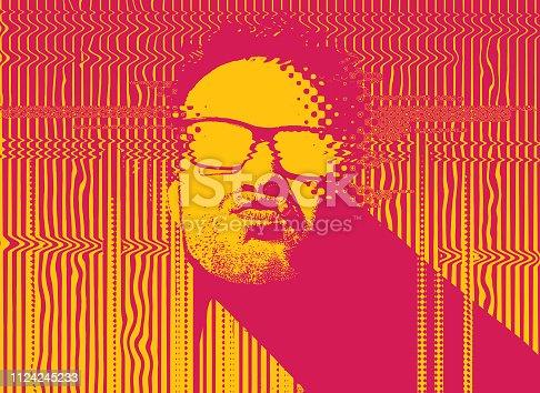 istock Portrait of a male Rapper with glitch technique 1124245233