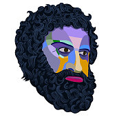 Portrait of a man with a gloomy expression with a thick beard and mustache, made in the style of colored mosaic on a white background