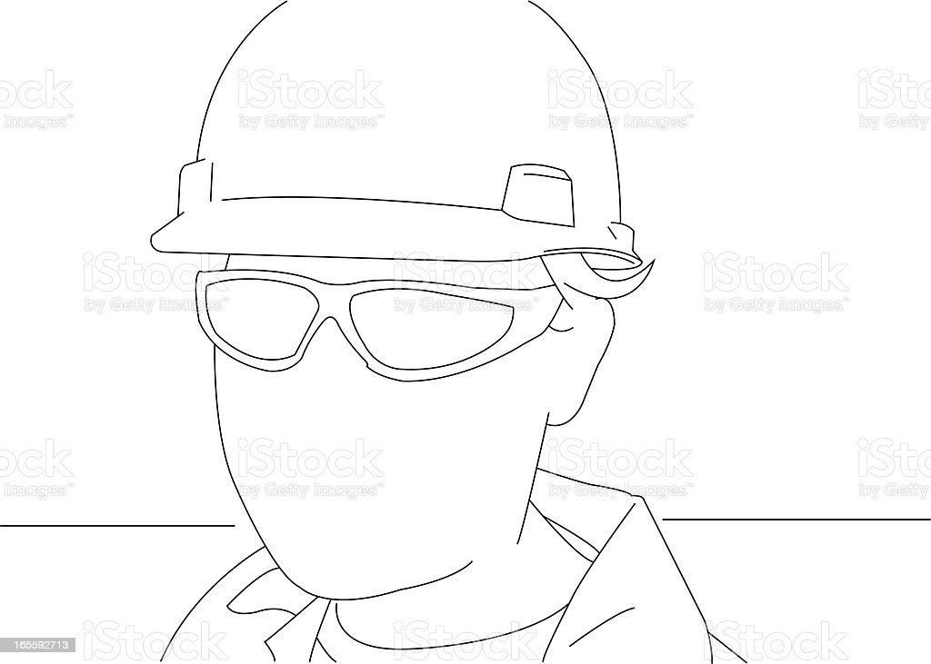 Portrait of a manual worker vector art illustration