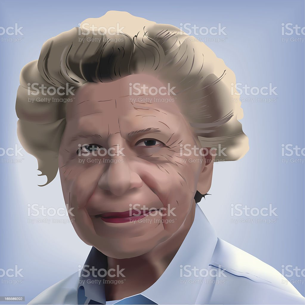 Portrait of a older woman vector art illustration
