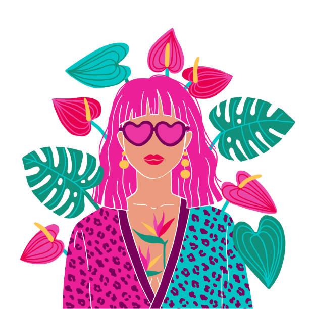 illustrazioni stock, clip art, cartoni animati e icone di tendenza di portrait of a pink hair woman in the urban jungle. fashion print. vector illustration - woman portrait forest