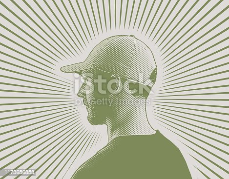 Portrait of a serious Young man with sunbeam background