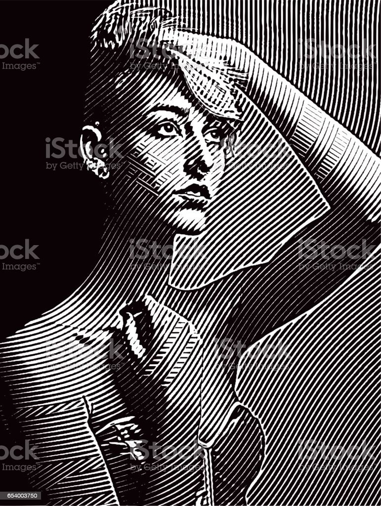 Portrait of a serious young woman hipster vector art illustration