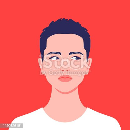 istock Portrait of a short-haired girl. Androgin lookingwith asidelongglance. Diversity. Avatar. 1190626181