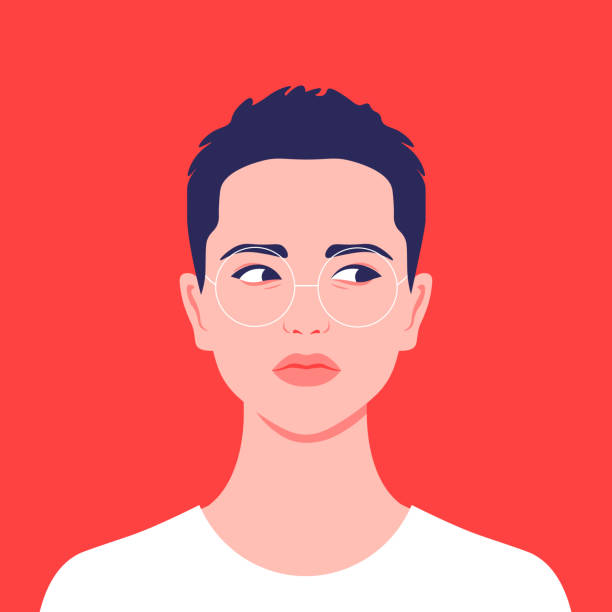 portrait of a short-haired girl. androgin looking with a sidelong glance. diversity. avatar. - portrait stock illustrations