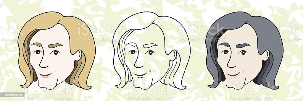 Portrait of a smiling guy with long hair royalty-free stock vector art