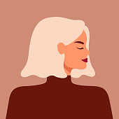Portrait of a strong beautiful woman in profile with blond hair. Avatar of confident young caucasian girl. Vector illustration