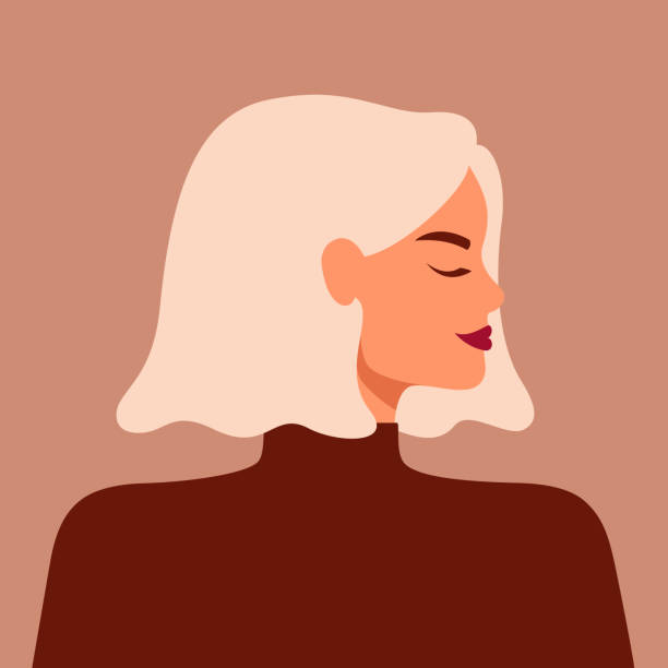 Portrait of a strong beautiful woman in profile with blond hair. Portrait of a strong beautiful woman in profile with blond hair. Avatar of confident young caucasian girl. Vector illustration hair stock illustrations