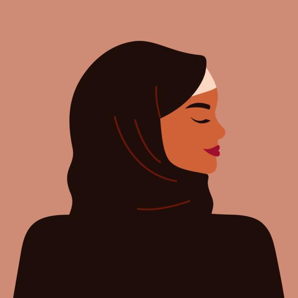 一個強壯的穆斯林婦女的肖像,穿著黑色頭巾。 - emirati woman 幅插畫檔、美工圖案、卡通及圖標